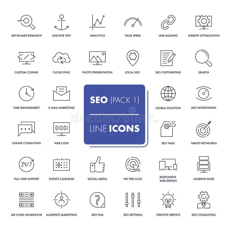 Línea iconos fijados SEO ilustración del vector