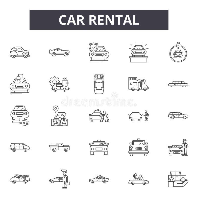 Línea iconos, muestras, sistema del vector, concepto del alquiler de coches del ejemplo del esquema ilustración del vector