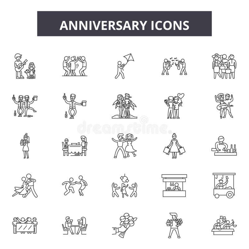 Línea iconos, muestras, sistema del vector, concepto del aniversario del ejemplo del esquema ilustración del vector