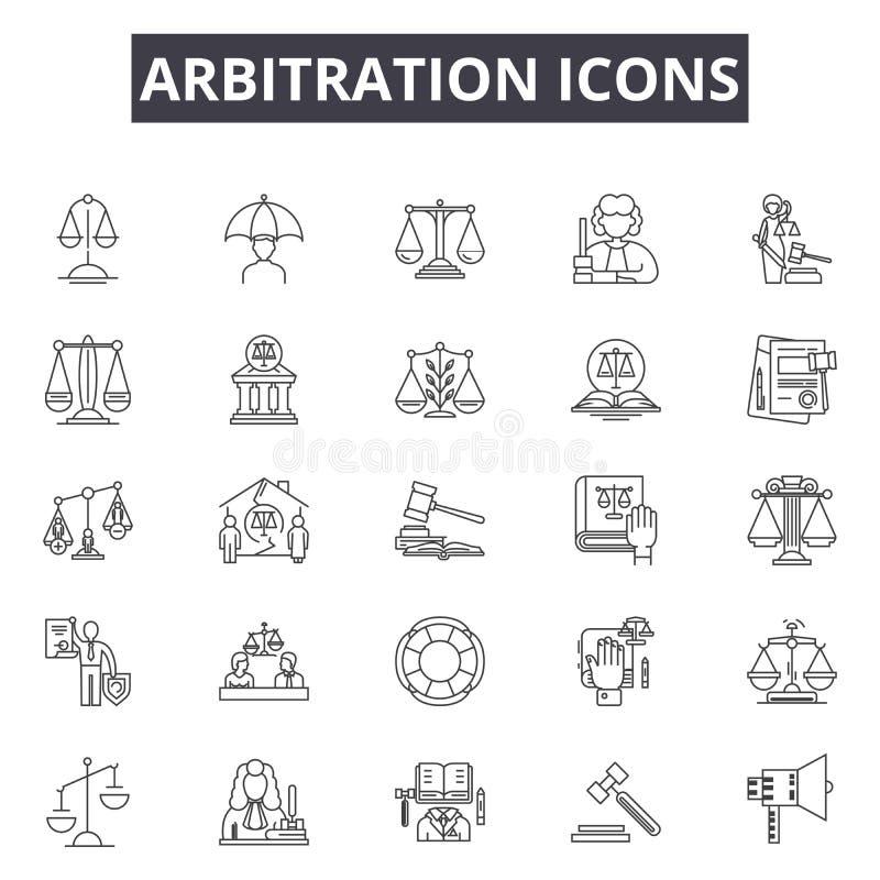 Línea iconos, muestras, sistema del vector, concepto del arbitraje del ejemplo del esquema stock de ilustración