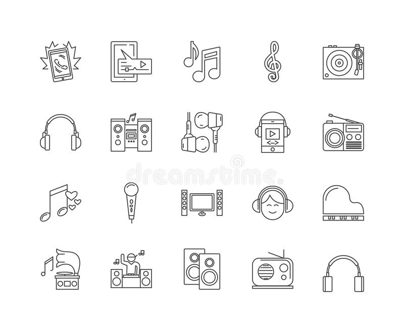 Línea iconos, muestras, sistema del vector, concepto del audio y de la música del ejemplo del esquema stock de ilustración