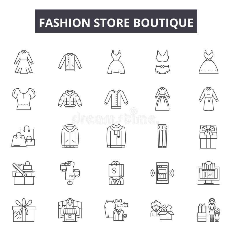 Línea iconos, muestras, sistema del vector, concepto del boutique de la tienda de la moda del ejemplo del esquema ilustración del vector