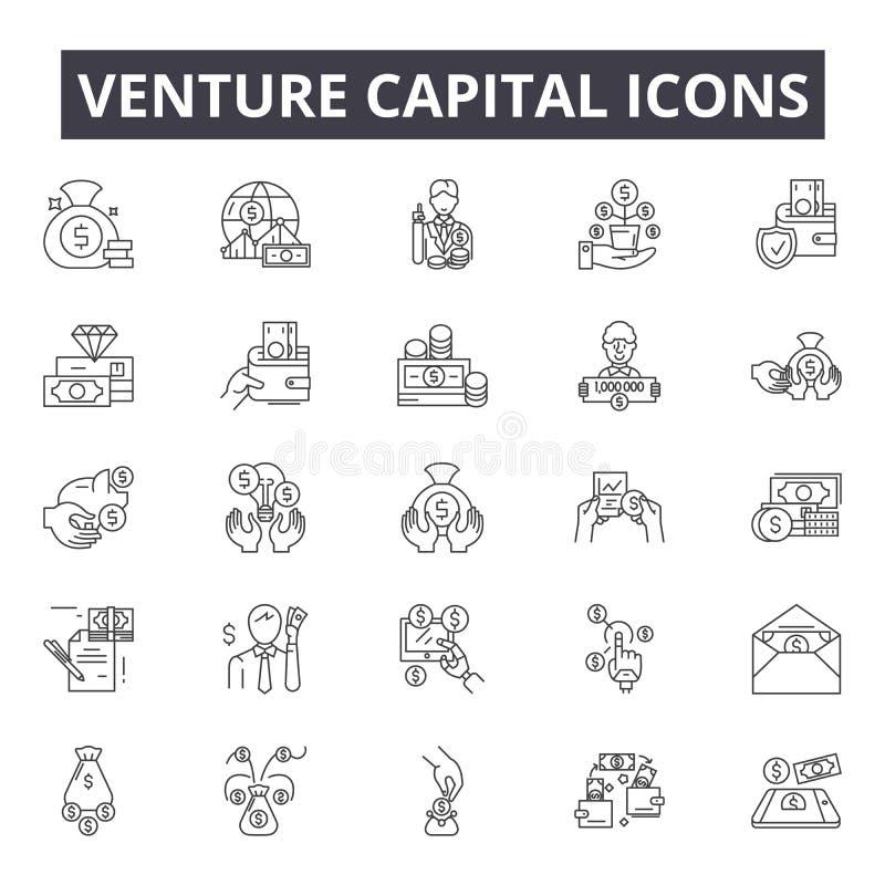 Línea iconos, muestras, sistema del vector, concepto del capital de riesgo del ejemplo del esquema libre illustration