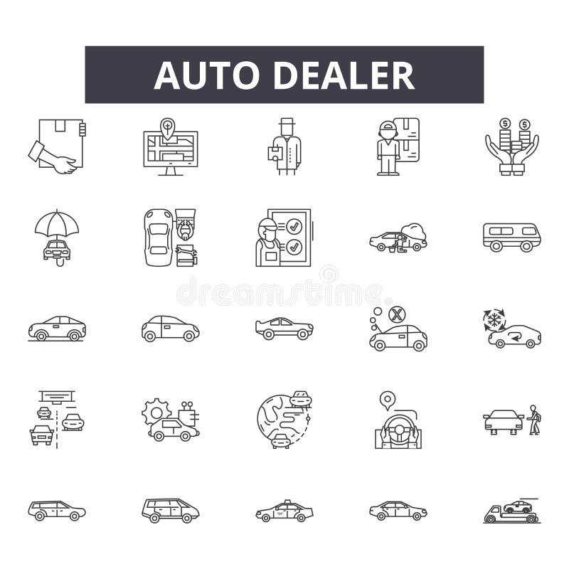 Línea iconos, muestras, sistema del vector, concepto del concesionario de automóviles del ejemplo del esquema libre illustration
