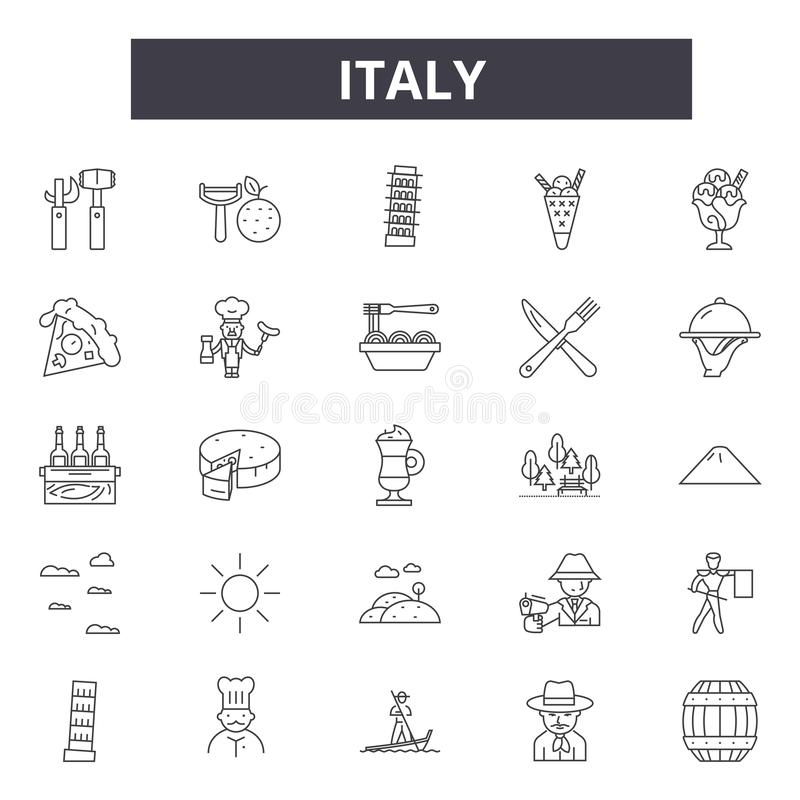 Línea iconos, muestras, sistema del vector, concepto de Italia del ejemplo del esquema stock de ilustración