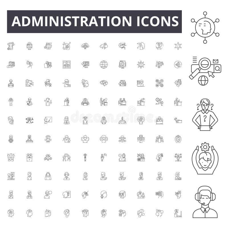 Línea iconos, muestras, sistema del vector, concepto de la administración del ejemplo del esquema ilustración del vector