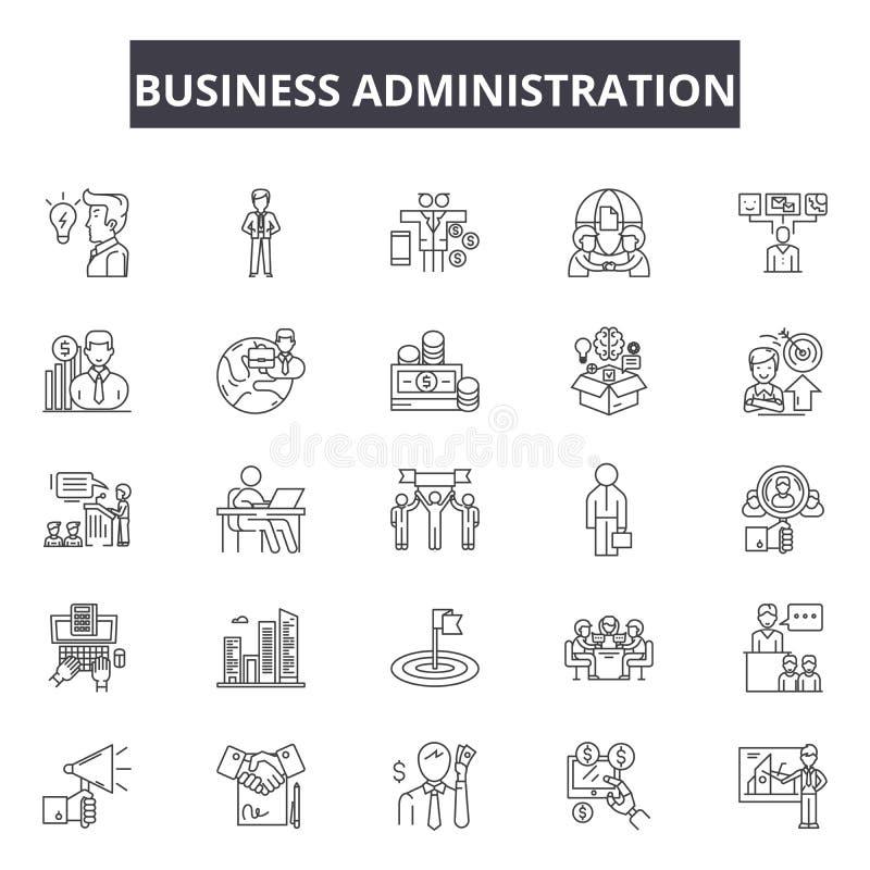 Línea iconos, muestras, sistema del vector, concepto de la administración de empresas del ejemplo del esquema stock de ilustración