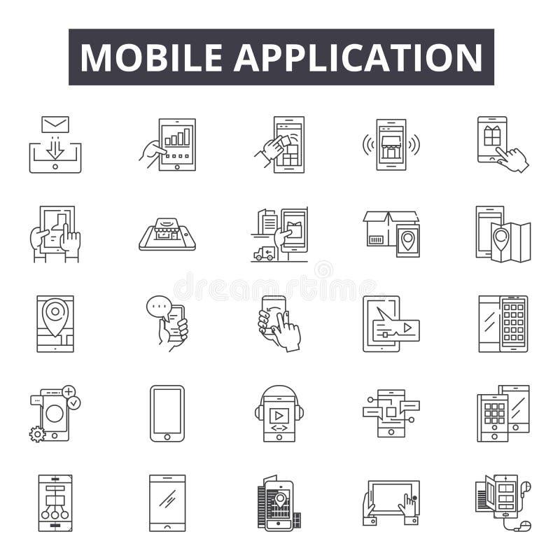 Línea iconos, muestras, sistema del vector, concepto de la aplicación móvil del ejemplo del esquema libre illustration