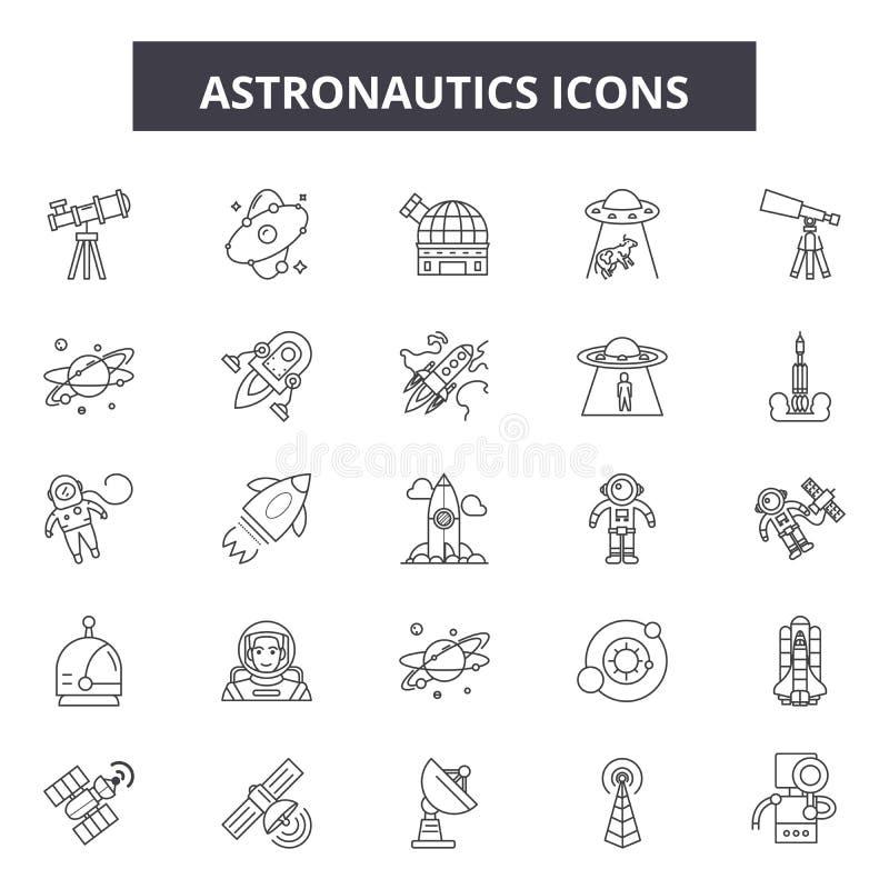 Línea iconos, muestras, sistema del vector, concepto de la astronáutica del ejemplo del esquema stock de ilustración