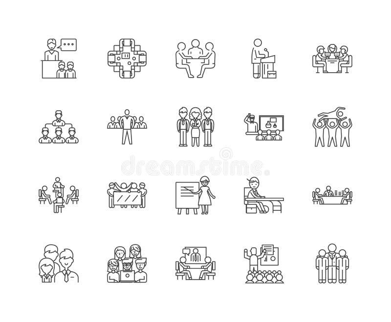 Línea iconos, muestras, sistema del vector, concepto de la audiencia del ejemplo del esquema stock de ilustración