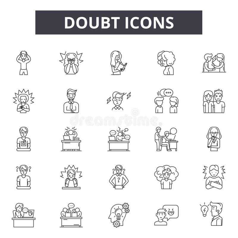 Línea iconos, muestras, sistema del vector, concepto de la duda del ejemplo del esquema stock de ilustración