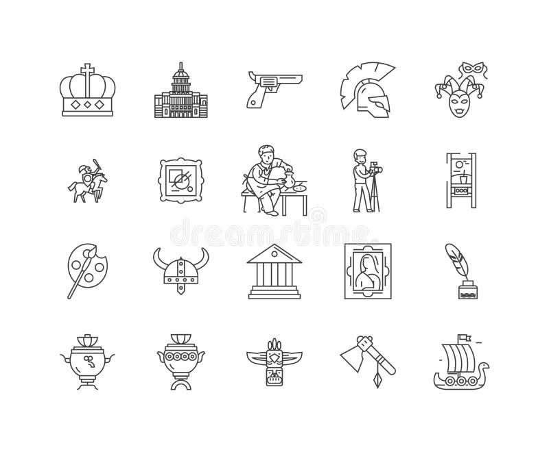 Línea iconos, muestras, sistema del vector, concepto de la exposición del ejemplo del esquema libre illustration