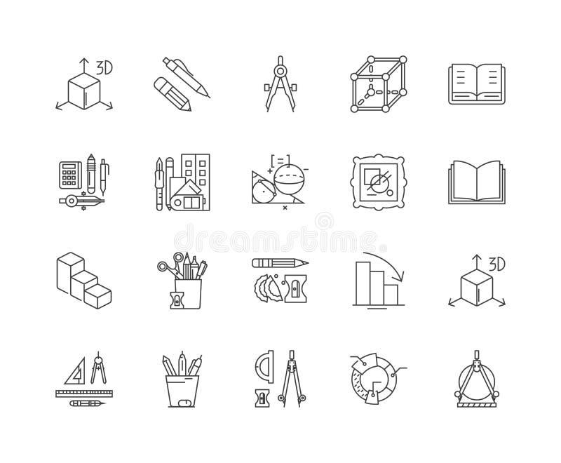 Línea iconos, muestras, sistema del vector, concepto de la geometría del ejemplo del esquema ilustración del vector
