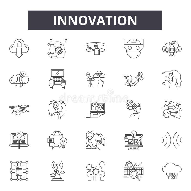 Línea iconos, muestras, sistema del vector, concepto de la innovación del ejemplo del esquema stock de ilustración