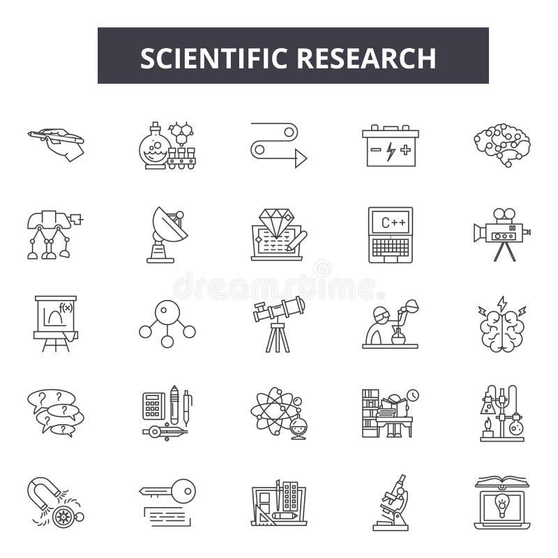 Línea iconos, muestras, sistema del vector, concepto de la investigación científica del ejemplo del esquema stock de ilustración