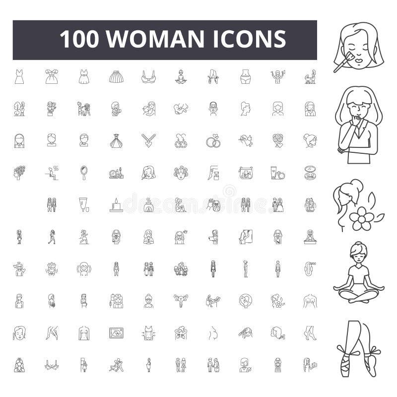 L?nea iconos, muestras, sistema del vector, concepto de la mujer del ejemplo del esquema stock de ilustración