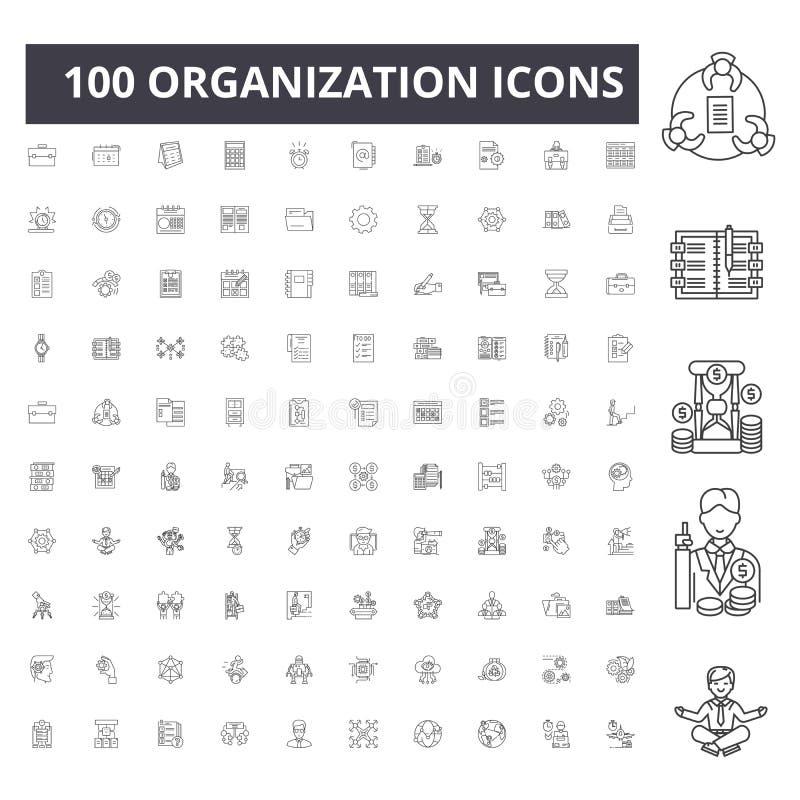 Línea iconos, muestras, sistema del vector, concepto de la organización del ejemplo del esquema stock de ilustración
