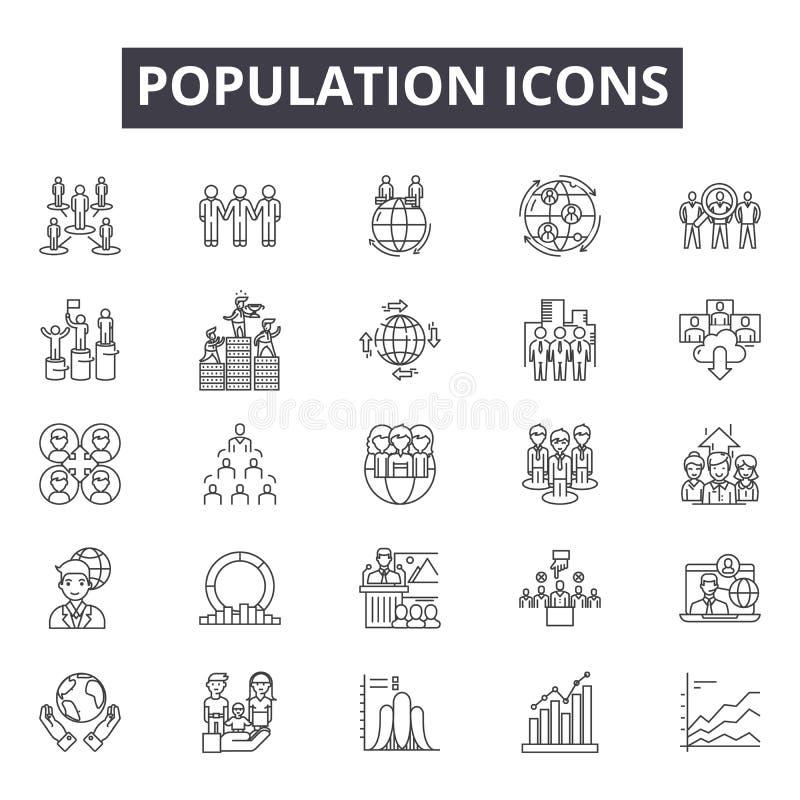 Línea iconos, muestras, sistema del vector, concepto de la población del ejemplo del esquema libre illustration