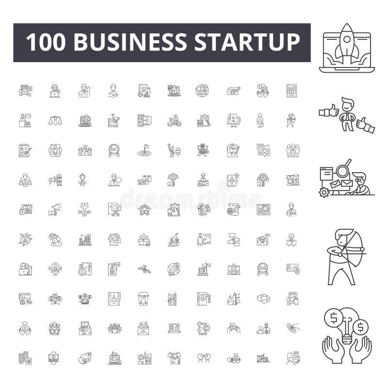 Línea iconos, muestras, sistema del vector, concepto de la puesta en marcha del negocio del ejemplo del esquema ilustración del vector