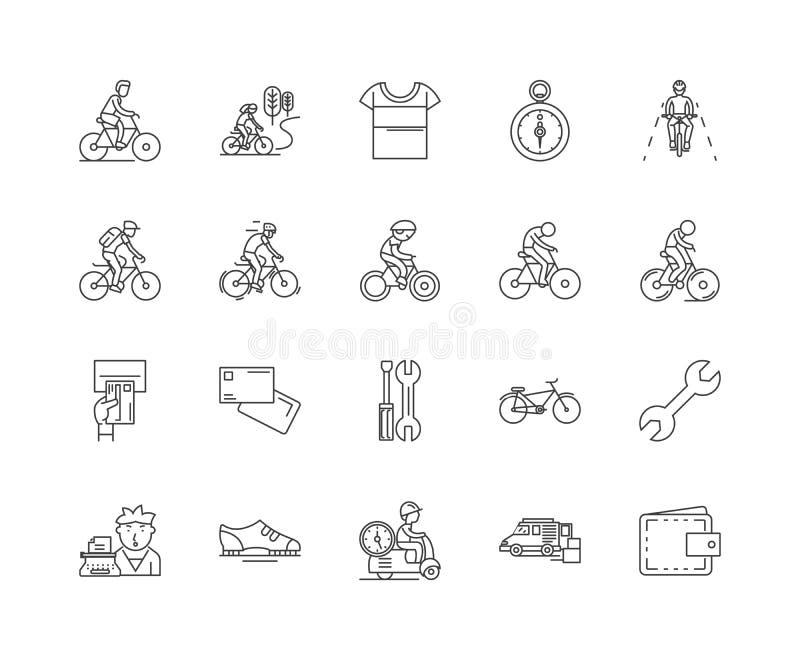 Línea iconos, muestras, sistema del vector, concepto de la tienda de la bicicleta del ejemplo del esquema stock de ilustración