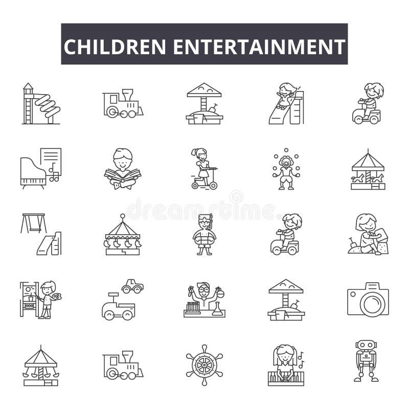 Línea iconos, muestras, sistema del vector, concepto del entretenimiento de los niños del ejemplo del esquema ilustración del vector
