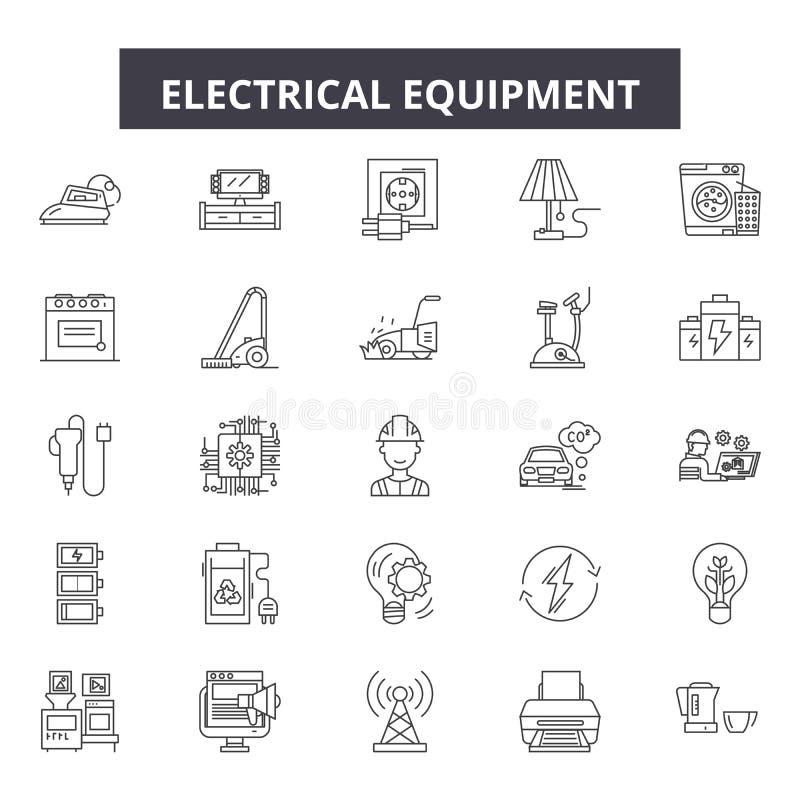 Línea iconos, muestras, sistema del vector, concepto del equipo eléctrico del ejemplo del esquema libre illustration