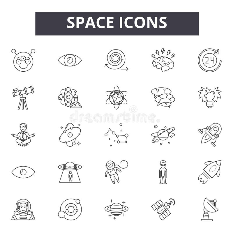 Línea iconos, muestras, sistema del vector, concepto del espacio del ejemplo del esquema stock de ilustración