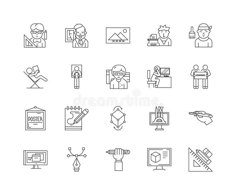 Línea iconos, muestras, sistema del vector, concepto del estudio del diseño del ejemplo del esquema stock de ilustración