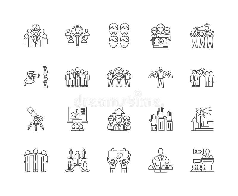 Línea iconos, muestras, sistema del vector, concepto del grupo principal del ejemplo del esquema stock de ilustración