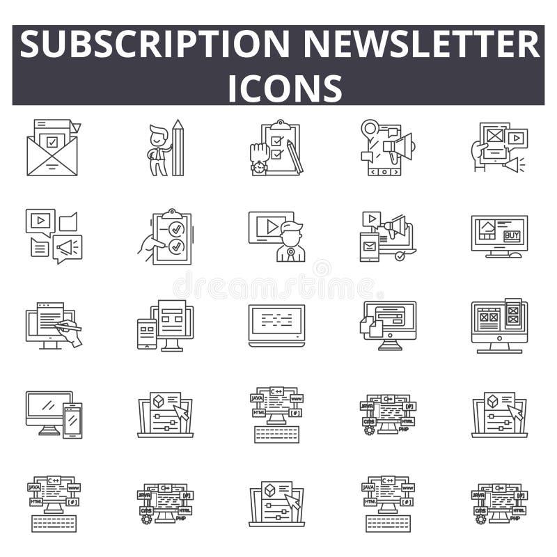 Línea iconos, muestras, sistema del vector, concepto del hoja informativa de la suscripción del ejemplo del esquema ilustración del vector