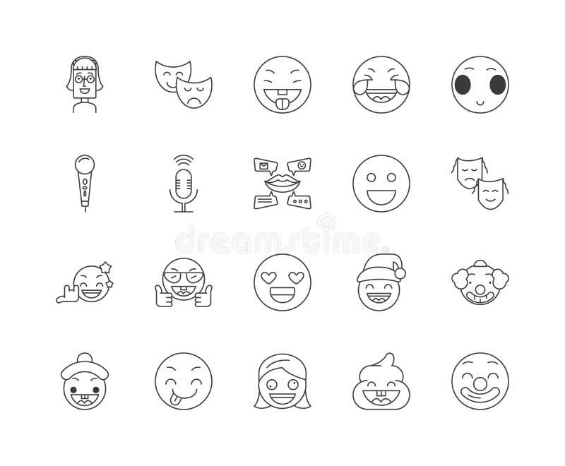Línea iconos, muestras, sistema del vector, concepto del humor del ejemplo del esquema stock de ilustración