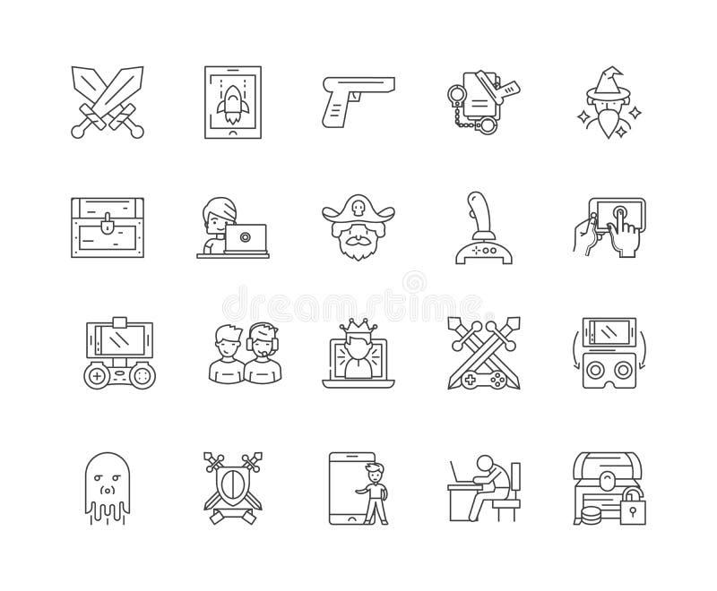 Línea iconos, muestras, sistema del vector, concepto del juego del ordenador del ejemplo del esquema stock de ilustración