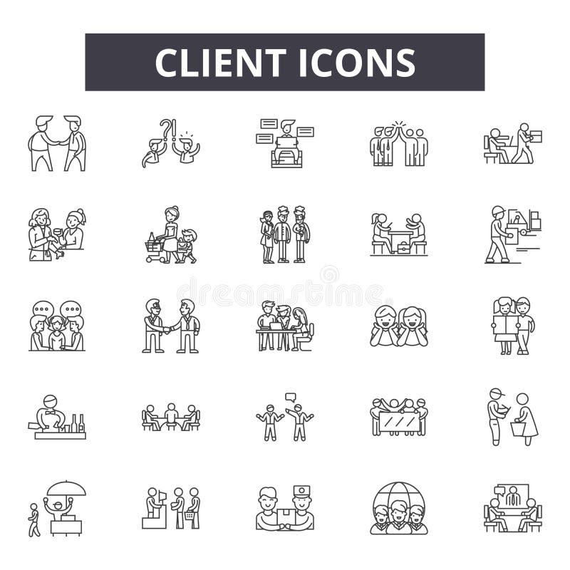 Línea iconos, muestras, sistema del vector, concepto linear, ejemplo del cliente del esquema ilustración del vector