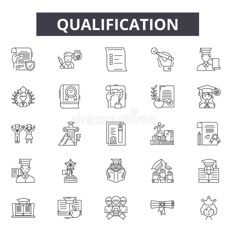 Línea iconos, muestras, sistema del vector, concepto linear, ejemplo de la calificación del esquema stock de ilustración