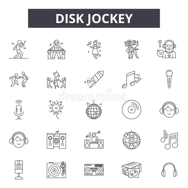 Línea iconos, muestras, sistema del vector, concepto linear, ejemplo del disk jockey del esquema stock de ilustración