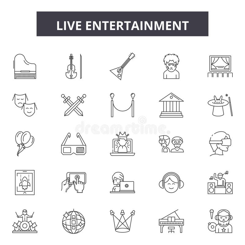 Línea iconos, muestras, sistema del vector, concepto linear, ejemplo del espectáculo en vivo del esquema libre illustration