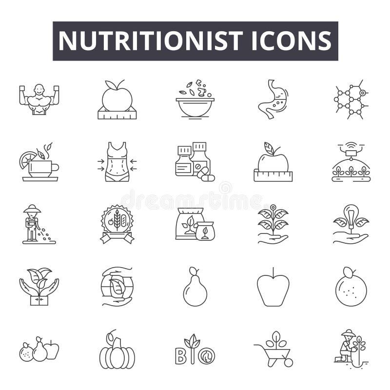Línea iconos, muestras, sistema del vector, concepto linear, ejemplo del nutricionista del esquema stock de ilustración
