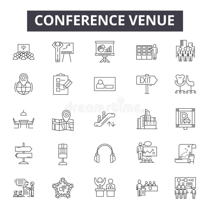 Línea iconos, muestras, sistema del vector, concepto del lugar de la conferencia del ejemplo del esquema libre illustration