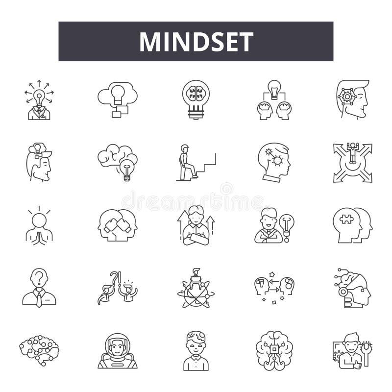 Línea iconos, muestras, sistema del vector, concepto del modo de pensar del ejemplo del esquema libre illustration