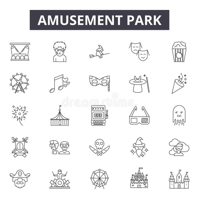 Línea iconos, muestras, sistema del vector, concepto del parque de atracciones del ejemplo del esquema stock de ilustración