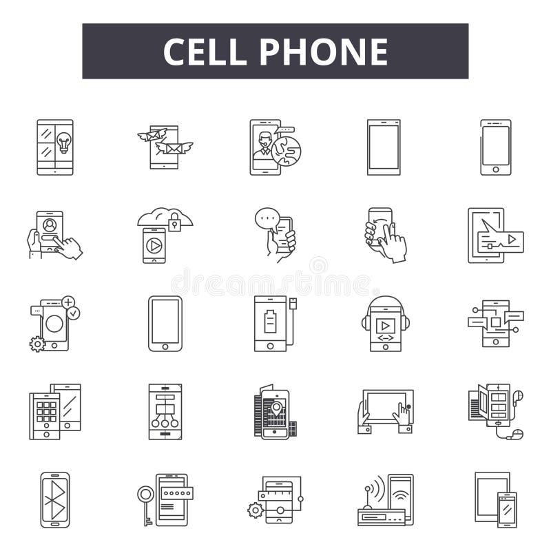Línea iconos, muestras, sistema del vector, concepto del teléfono celular del ejemplo del esquema stock de ilustración