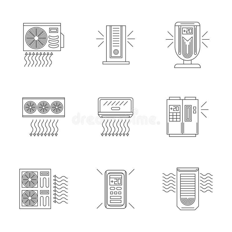 Línea iconos planos de los acondicionadores de aire fijados libre illustration
