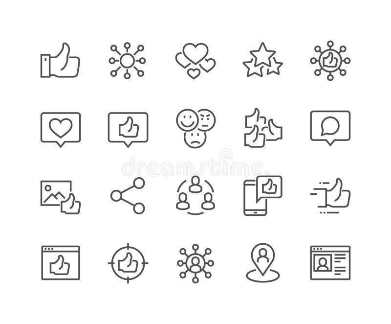 Línea iconos sociales de las redes stock de ilustración