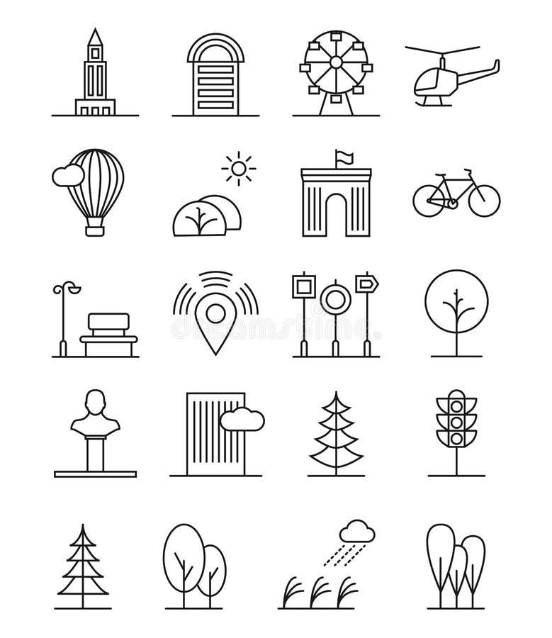 Línea iconos urbanos del paisaje de la casa del arte Los árboles y las casas lineares, ciudad de la naturaleza firman stock de ilustración