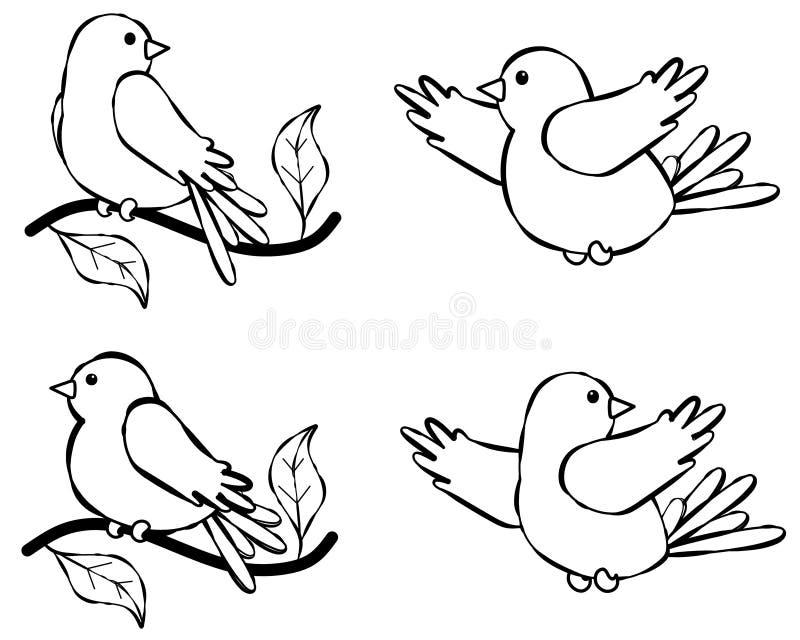 Línea ilustración 2 del pájaro del arte ilustración del vector
