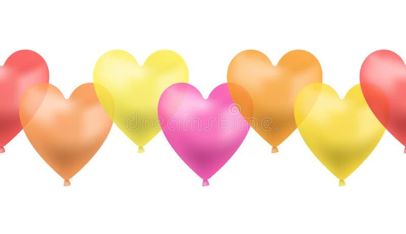 Línea inconsútil de globos en forma de corazón, roja, rosa, colores amarillos, anaranjados de Brigth, ejemplo colorido, símbolo d ilustración del vector