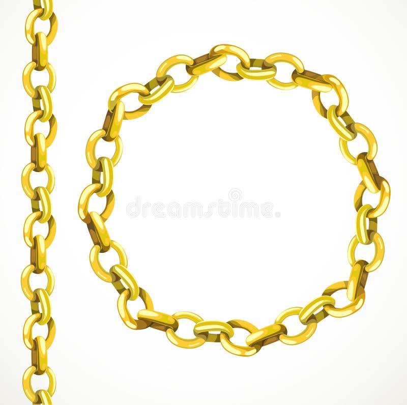 Línea inconsútil de la cadena de oro y cerrado en un círculo ilustración del vector