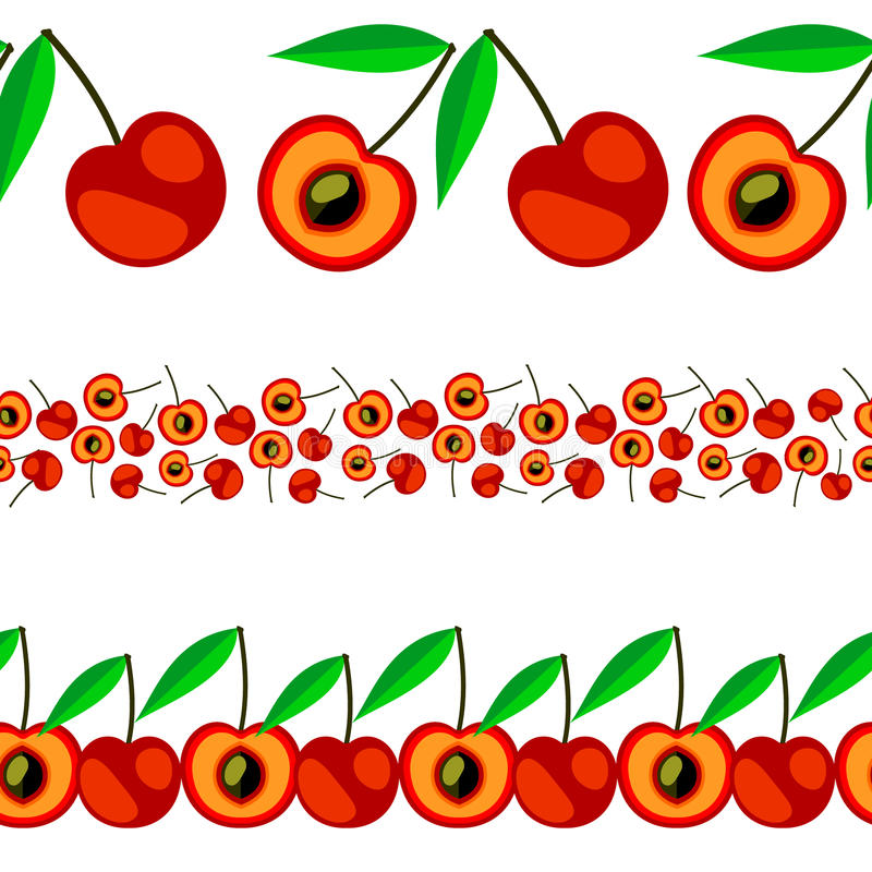 Línea inconsútil de la fruta del vector Sistema de los elementos para el diseño, fronteras con las cerezas, aisladas en el fondo  libre illustration