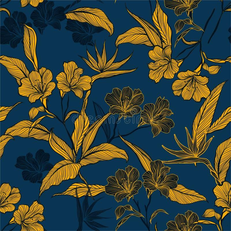 Línea inconsútil elegante flores y plantas botánicas del modelo en el ejemplo oscuro del vector del humor del jardín Diseño para  stock de ilustración