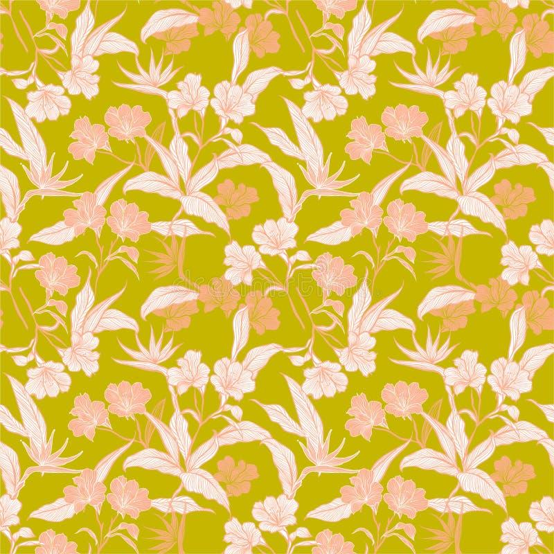 Línea inconsútil hermosa flores y plantas botánicas del modelo en el ejemplo dulce del vector del humor del jardín Diseño para la ilustración del vector
